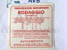 Inrij-instructie sticker rood Rodaggio 2000 km, 4 versnellingen, 5%, 130x130mm
